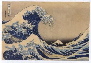 "La spuma dell'onda - ""La grande onda di Kanagawa"", lavoro di Katsushika Hokusai 1830 circa"
