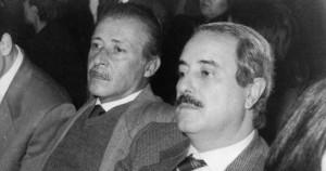 Paolo Borsellino (1940 - 1992), links, und Giovanni Falcone (1939 - 1992)