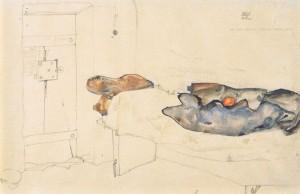 """""""Die eine Orange war das einzige Licht"""" Aquarell von Egon Schiele (1912)"""